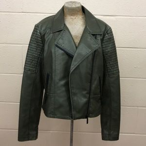 Free Press Faux Leather Olive green Moto Jacket